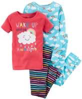 "Carter's Girls 4-12 4-pc.""Wake Up Awesome"" Graphic Pajama Set"