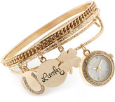 Style&Co. Style & Co Women's Crystal-Accent Gold-Tone Alloy Charm Bangle Bracelet Watch Set 20mm SY011G, Only at Macy's