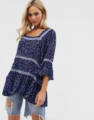 Free People Talk About It floral print tunic top-Blue