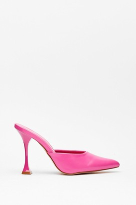 Nasty Gal Womens You've Made Your Point Faux Leather Stiletto Mules - Pink