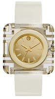 Tory Burch 'Izzie' Square Leather Strap Watch, 36mm