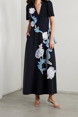 Lela Rose Appliqued Crepe Midi Dress - Blue