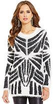 Gianni Bini Eva Eyelash Long Sleeve Tribal Sweater