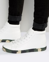 Asos Mid Top Sneakers In White With Camo Sole