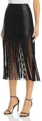 BAGATELLE.NYC Fringed Faux Leather Midi Skirt