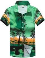 LerBen Men's Hawaiian Shirt Short Sleeve Summer Holiday Casual Beach Shirt