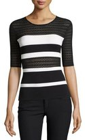 Bailey 44 Staggered Start Striped Lace Short-Sleeve Sweater, Black/White