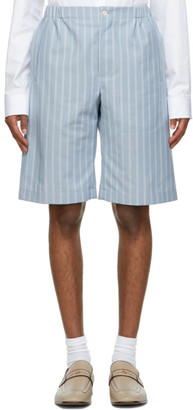 Gucci Blue Mohair and Wool Double Striped Shorts