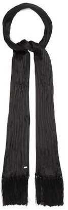 Saint Laurent Pleated Silk-faille Scarf - Black