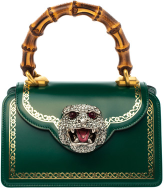 Gucci Green Leather Small Thiara Bamboo Top Handle Bag