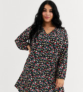 Wednesday's Girl Curve long sleeve button fron tea dress in vintage floral