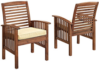 Set Of 2 Hewson Acacia Wood Outdoor Patio Dining Chairs