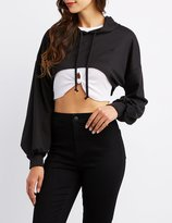 Charlotte Russe Distressed Cropped Hoody