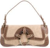Valentino Crocodile-Trimmed Raffia Bag