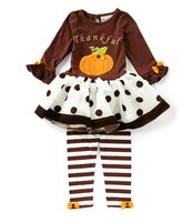 Rare Editions Little Girls 2T-6X Thanksgiving Pumpkin Tutu Dress & Striped Leggings Set
