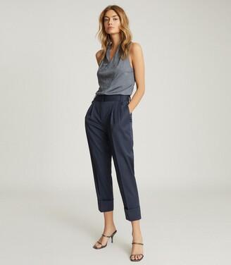 Reiss Mae - Wool Blend Pleat Front Trousers in Blue