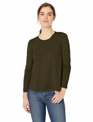 Daily Ritual Lightweight Lived-in Cotton Long-sleeve Swing T-shirt Pink Stripe US XXL (EU 3XL-4XL)