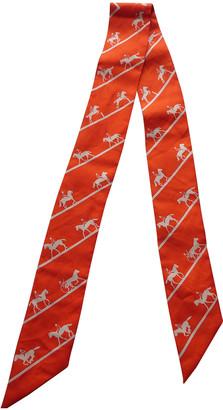 Hermã ̈S HermAs Twilly 86 Orange Silk Scarves