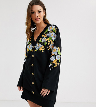 Asos Tall DESIGN Tall embroidered sweat button through mini dress-Black