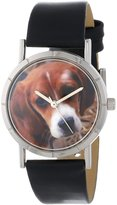 Whimsical Watches Kids' R0130007 Classic Beagle Black Leather And Silvertone Photo Watch
