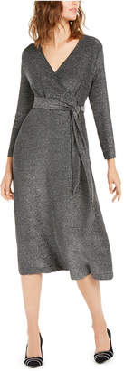 Alfani Belted Metallic Wrap Midi Dress