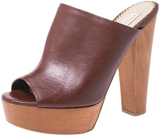 Stella McCartney Brown Faux Leather Wooden Block Heel Platform Mules Size 38