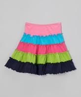 Mulberribush Fuchsia & Navy Tiered Skirt - Infant Toddler & Girls