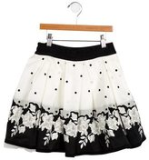 MonnaLisa Girls' Floral-Embroidered Pleated Skirt