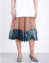 Valentino Pleated silk-chiffon and velvet midi skirt