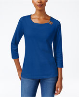 Karen Scott Three-Quarter-Sleeve Hardware-Embellished Top, Only at Macy's