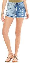 GB Two-Tone Cutoff Distressed Jean Shorts