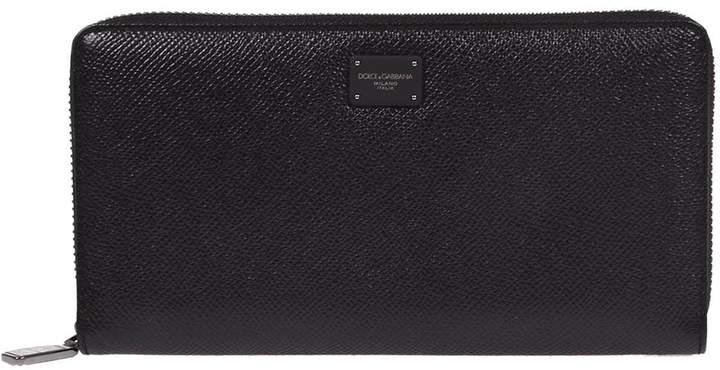 Dolce & Gabbana Logo Plaque Zip Around Wallet