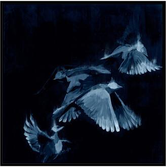 Jonathan Bass Studio Bird Study 1 - Blue, Decorative Framed Hand Embellished Canvas