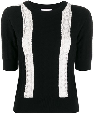 See by Chloe Knitted Lace-Embellished Top