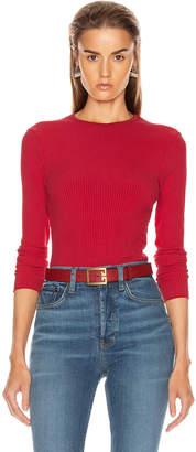 RE/DONE 60's Long Sleeve Bodysuit in Red Orange | FWRD