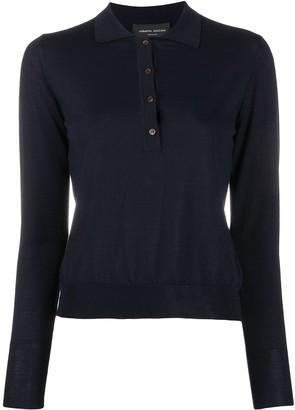 Roberto Collina Ribbed-Knit Wool Polo Shirt