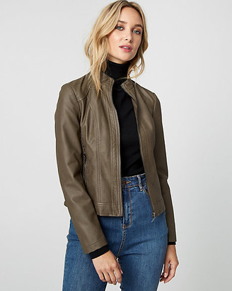 Le Château Ruched Faux Leather Motorcycle Jacket