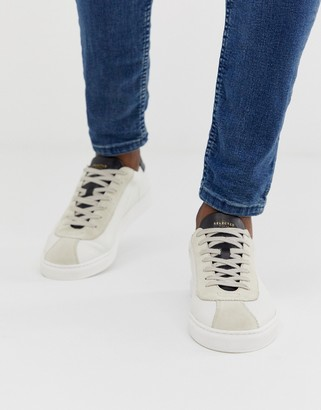 Selected leather mix sneakers in white-Black