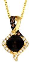 LeVian LE VIAN 0.78 Carat Compass Set Chocolate Quartz, Chocolate & Vanilla Diamond Pendant Set in 14K Yellow Gold (yellow-gold)