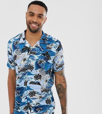 Jacamo revere collar shirt with palm tree print-Blue