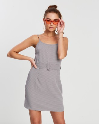 Missguided Herringbone Check Belted Dress