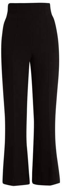 Emilia Wickstead Sammy Wool Crepe Wide Leg Trousers - Womens - Black