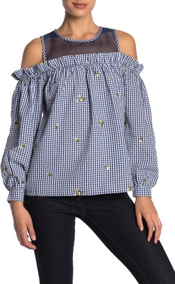 Vertigo Embroidered Gingham Cold Shoulder Top