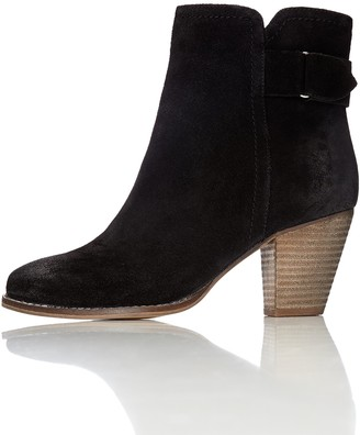 Find. Womens Maud Distressed Heeled Ankle Boots Black 7 UK (40 EU)
