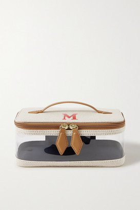 Paravel Monogrammed Large See All Vegan Leather-trimmed Canvas And Tpu Cosmetics Case - Cream