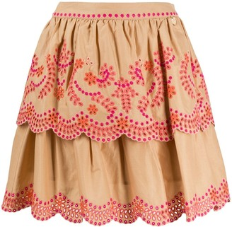 Twin-Set Broderie Anglaise Layered Skirt