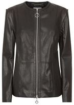 Escada Sport Collarless Peplum Leather Jacket
