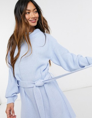Glamorous long sleeve mini jumper dress with tie waist in blue