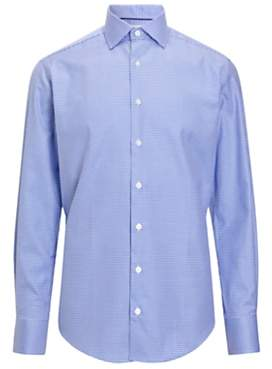 Smyth & Gibson Non Iron Twill Houndstooth Contemporary Fit Shirt, Blue