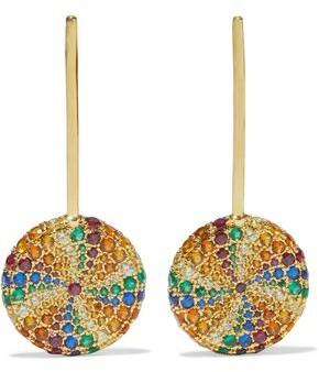 Noir Lollipop 14-karat Gold-plated Crystal Earrings